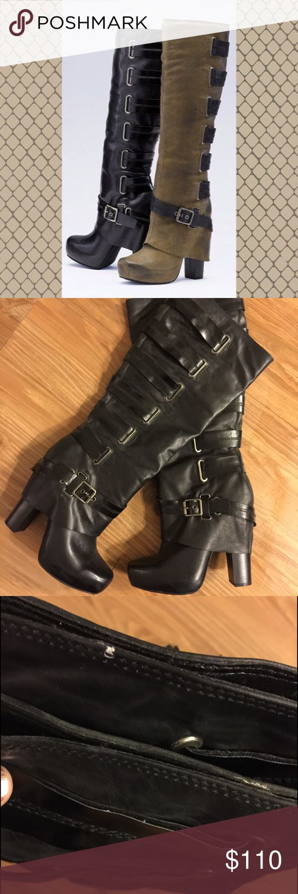 Jessica Simpson Boots Size 9 fits like an 8. Worn twice. Two little Knicks at very top of boot, see picture. Otherwise pretty close to perfect. Six inch heel. Jessica Simpson Shoes