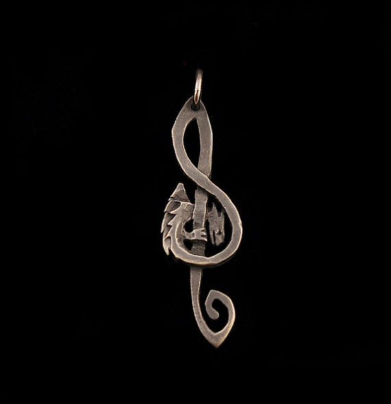 Treble Clef Dragon Pendant by RareCrafts on Etsy