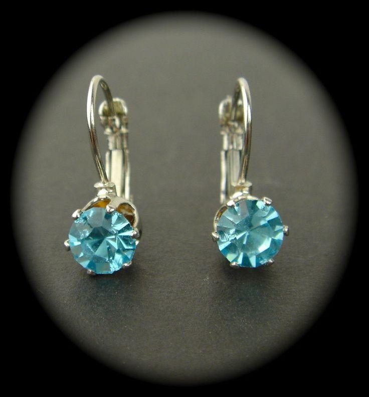 Vintage Czech Glass Silver Tone Earrings Aqua Blue Drop Dangle Lever Back  #DropDangle