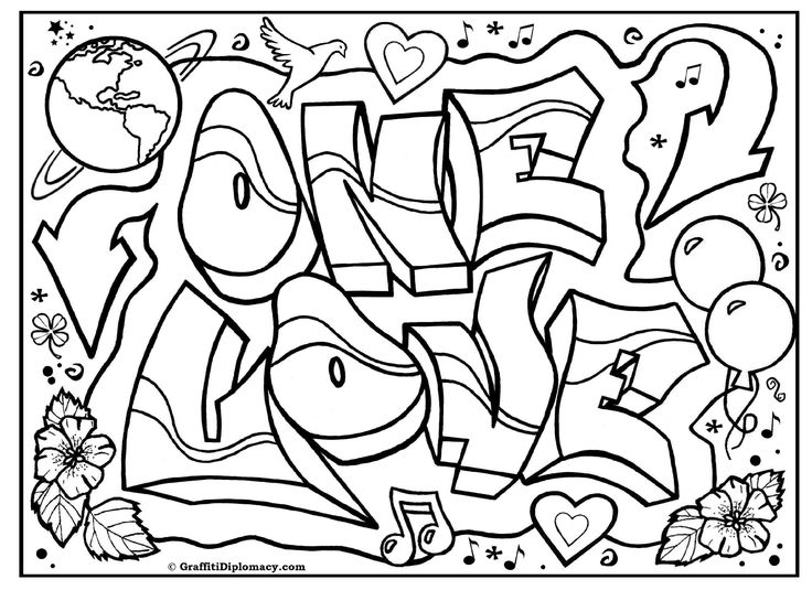 ONE LOVE Graffiti free coloring page graffiti printable free