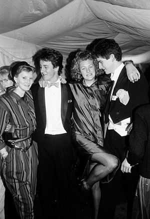 Sarah Hamilton, David Cameron, Francesca Ferguson and Tim Murphy at an Oxford Union Valentine Ball in 1987.