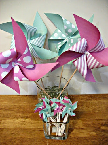 Made To Order Pinwheels Mint Green Pink Weddings by Msapple, $18.00