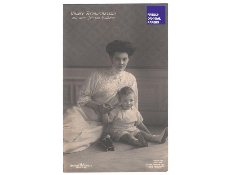 Prinz Wilhelm & princesse - robe blanche carte postale photo 1908 Allemagne Belle Epoque ...