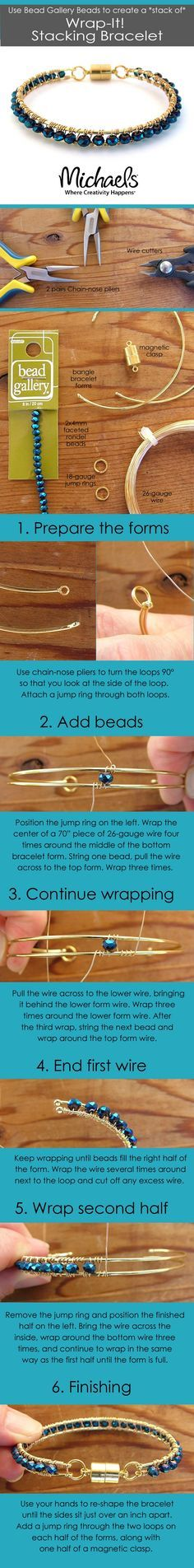 Use Bead Gallery Beads to create a stack of Wrap-it Stacking Bracelet. Available…