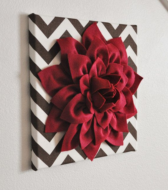"""Flower Wall Decor -Cranberry Dahlia Mum on Brown and Natural Chevron 12 x12"""" Canvas Wall Art- 3D Felt Flower"""