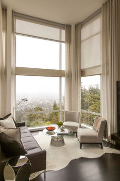 Iteresting idea windowqs going to ceiling, like the idea of blinds and curtains on the side to soften to wjo look.