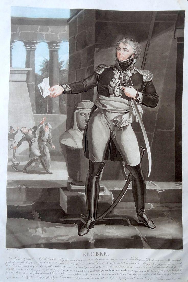 Jean-Baptiste Kléber (né le 9 mars 1753 à Strasbourg - mort au Caire le 14 juin 1800) - Général de division - gravé par Charon d'après Martinet et publié chez Jean - MAS Estampes Anciennes - Antique Prints