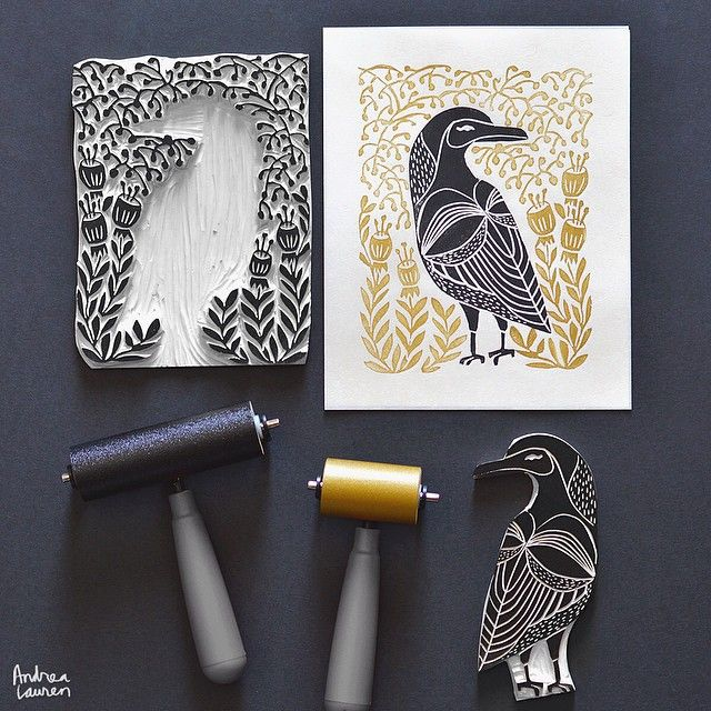 Andrea Lauren (@inkprintrepeat) | Always a great feeling to finish carving the blocks to a series of designs! Looking forward to printing a small edition of this crow in black and gold on mulberry paper along with the others in the set! Love to ink•print•repeat! | Intagme - The Best Instagram Widget
