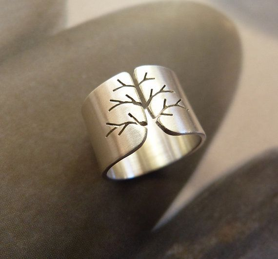 Silver tree ring autumn tree wide band statement