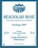 Beaujolais-Villages Rosé - Chateau Thivin Vendage 2011