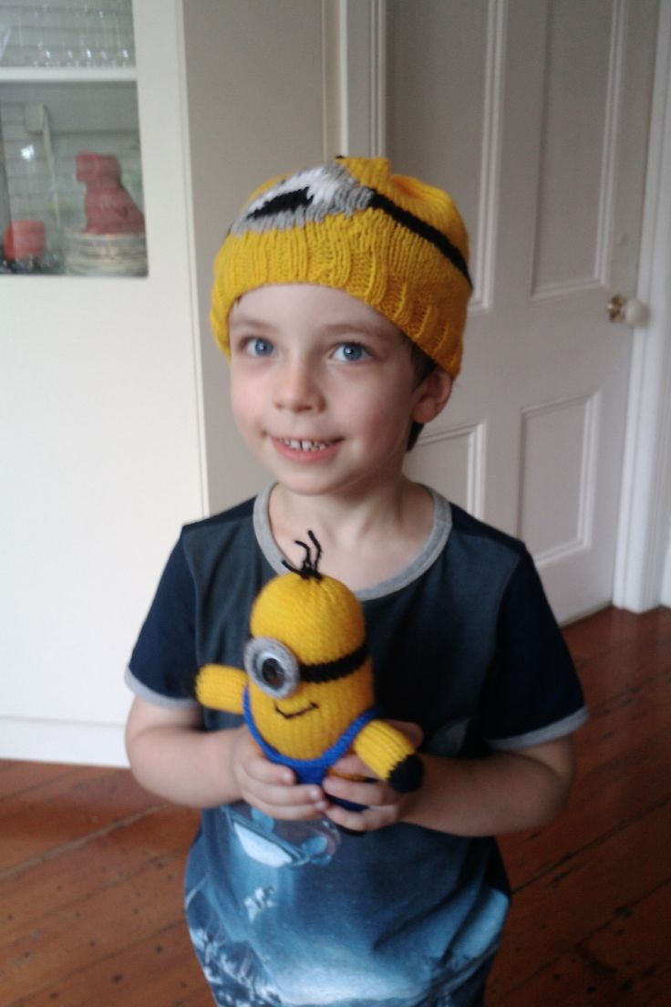 Grandie Louis on his 5th birthday with his Granny knitted Minion hat and toy.