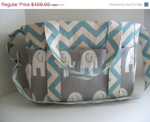 SALE Monogrammed Extra Large Chevron Diaper bag Made of Light Blue Chevron with Gray Elephant Fabric / Elastic Pockets