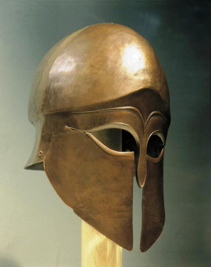 Thracian bronze Corinthian helmet, from Celopek, Bulgaria, 5th Century BCE.