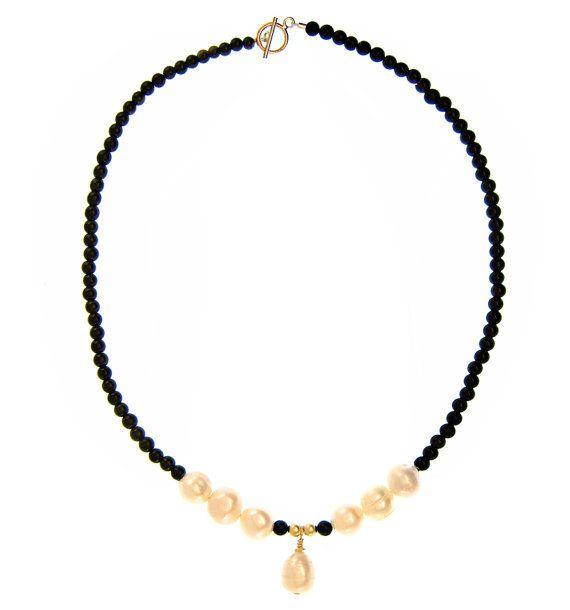 Gemstone jewelry. Handmade pearl pendant necklace with black semi precious gemstones - 14kt goldfill wire. High quality jewelry. Dressy funky evening necklace. Maria Tepper Jewelry