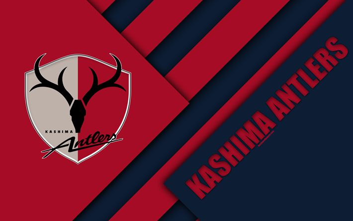 Download wallpapers Kashima Antlers FC, 4k, material design, Japanese football club, black and red abstraction, logo, Kasima, Ibaraki, Japan, J1 League, Japan Professional Football League, J-League