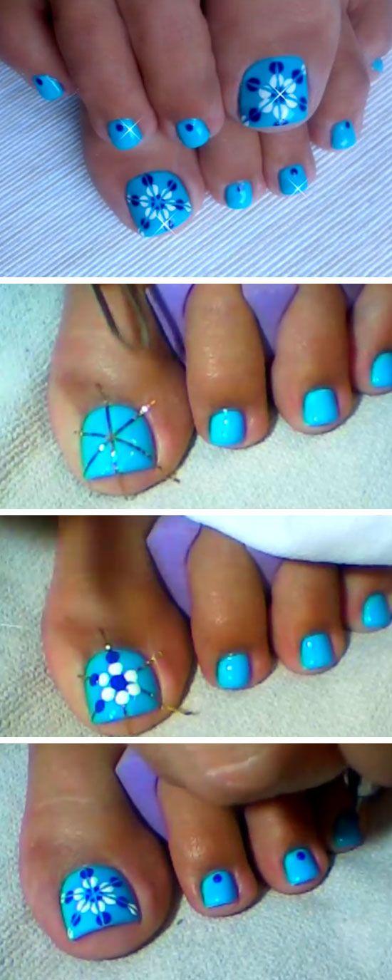 Blue Floral Nail Design | 18 DIY Toe Nail Designs for Summer Beach | Easy Toenail Art Designs for Beginners