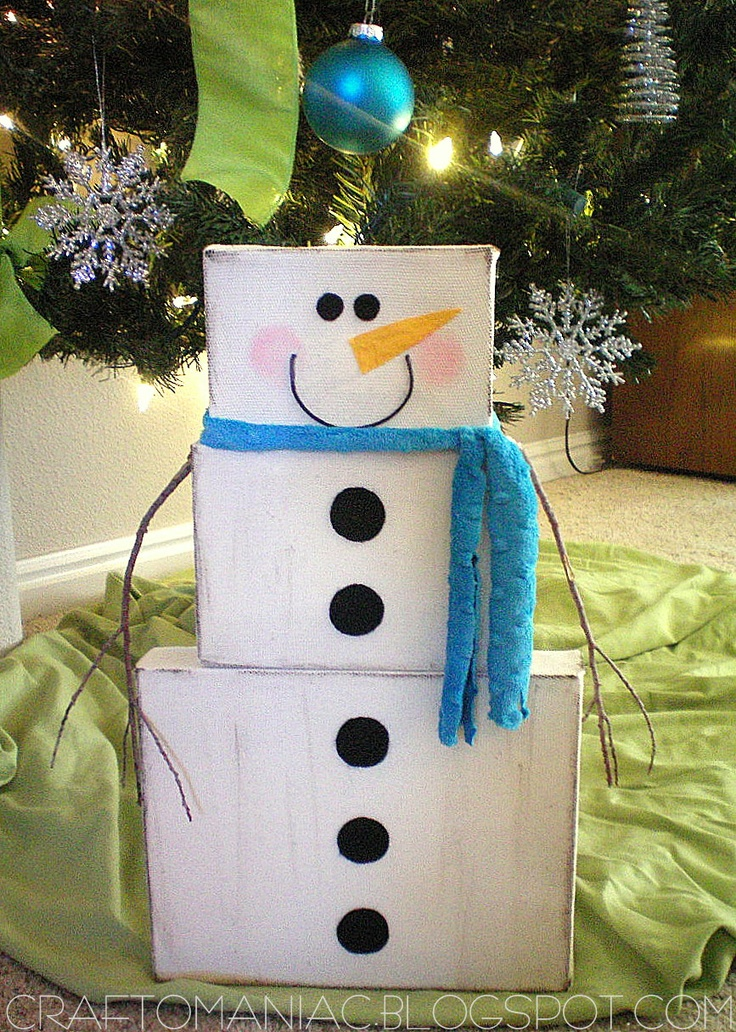 Frosty the Canvas Snowman tutorial - use this idea for the stacking containers I have!   repaint.    can store inside each other!
