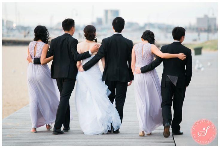 Bridal Party Portraits | Melbourne Encore St Kilda Beach Wedding Photos: Jeena & Run  | © 2016 Samantha Ong Photography www.samanthaongphoto.com #samanthaongphoto
