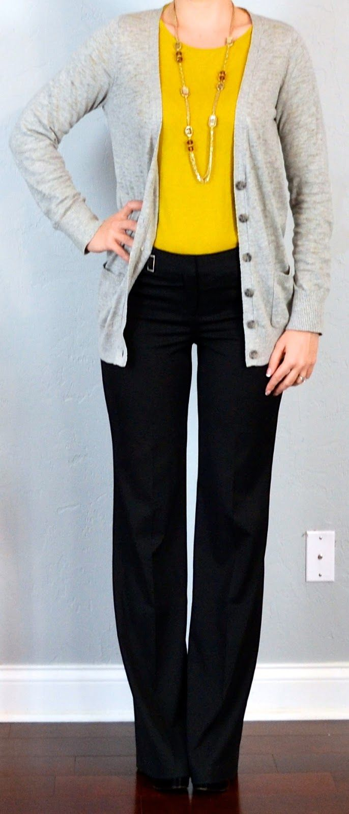 Outfit Posts: outfit posts: grey boyfriend cardigan, mustard shirt, black editor pants