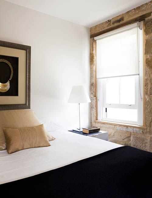 BALMAIN WHARF APARTMENTS | alwill  #sandstone #interiors #bedroom #bedsidelamp #blinds #artwork