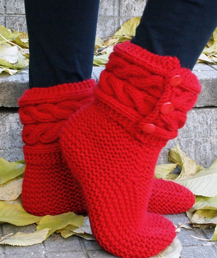 Free Knitting Pattern for Cable Cuff Boot Style Slippers - Boot style slipper...