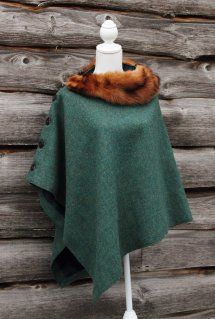 Harriet Hoot Green Harris Tweed & Vintage Fur Poncho