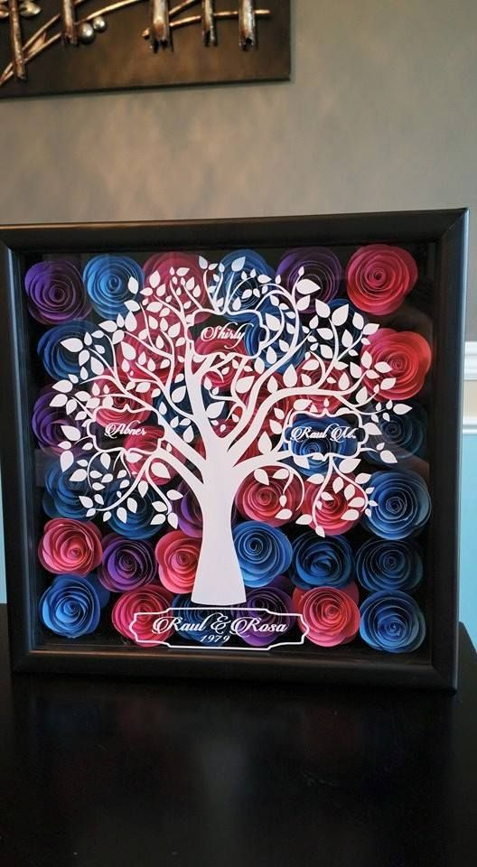 Shadow Box w/ Paper Roses