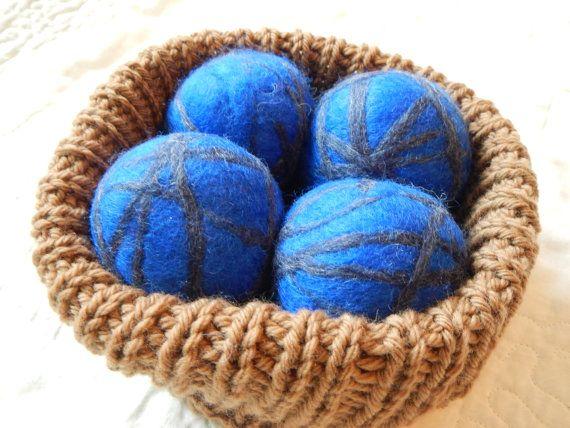 wool dryer balls felted wool dryer balls blue by LoveEweNatural, $25.98