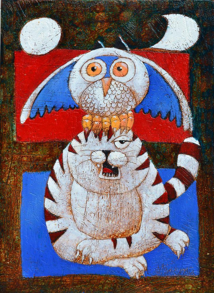 owl on cat