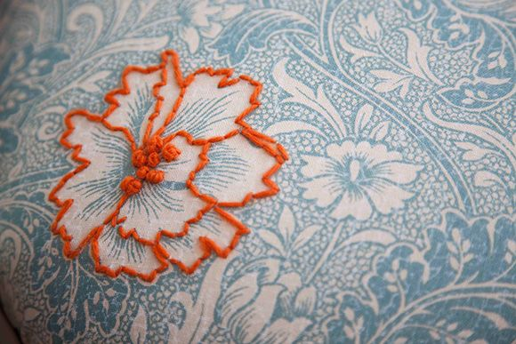 Polly Granville- single embroidered motif on patterned fabric