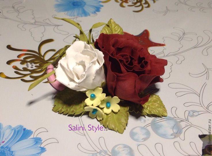 """Купить Резиночка из двух розочек из фоамирана""""Красивая"""" - бордовый, резинка для волос, цветы, цветок"""