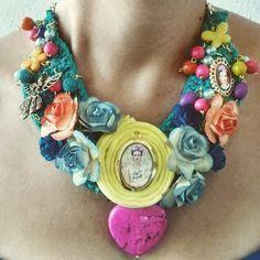 Necklace- Collar Frida kahlo tejido- woven corazón piedras naturales j – Amatzolli