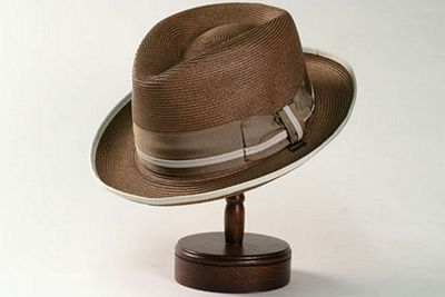 "The Stetson ""Tehachapi Loop"" sewn braid fedora. Available in Cognac and Navy - $118"