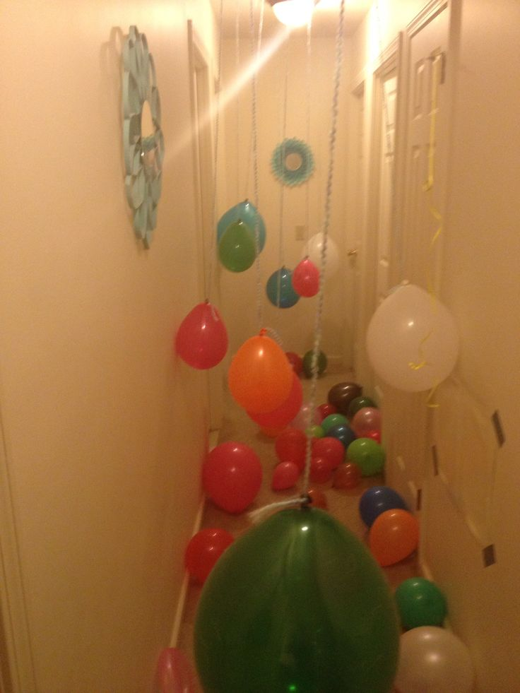 Birthday surprise for kids. When they walk out of their bedroom, they have to go through a balloon hallway!
