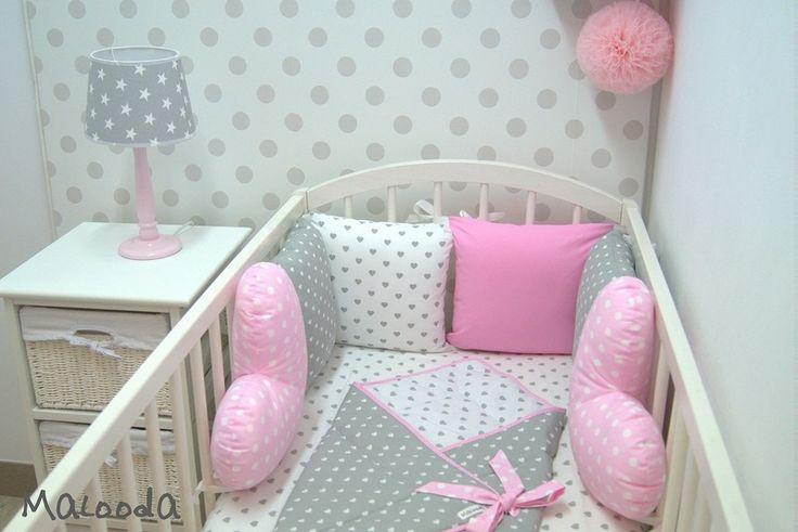 Tours de lit, Tour de lit de la collection Les Coeurs enchantees est une création orginale de Malooda sur DaWanda