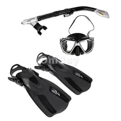 Scuba Diving Swimming Snorkeling Fin Flippers with Mask Dry Snorkel Gear Set
