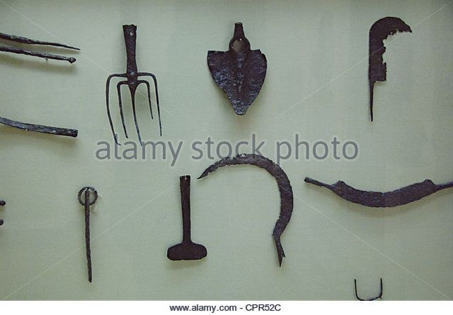 Roman Art. Spain. Agricultural tools. Archeological Museum. Seville. Andalusia. Stock Photo