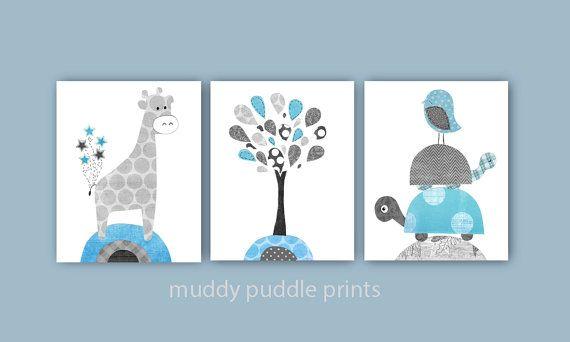 Jungen Kinderzimmer Prints, Kinderzimmer, Kinderzimmer Kunst jungen Zimmer Wand Kunst, Giraffe, Vögel, Baum, Schildkröte, blau und grau - eisblau Baum