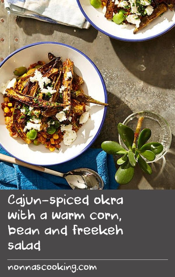 Cajun-spiced okra with a warm corn, bean and freekeh salad | Little known in Australia, okra is slender green seed pod and a mainstay of many cuisines. In America's Deep South, okra is typically breaded and deep-fried, which seems like a lot of work – not to mention cholesterol – for a simple vege dish, so we've decided to mess with the classic. Dusted with spices and roasted in a hot oven, these okra chips will likely become your new favourite (vegetable) thing.