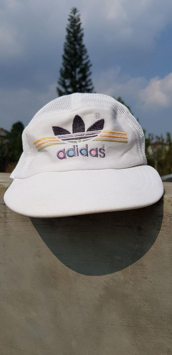 Rare Vintage 90s Adidas Strap Adjustable Size Cap Hat   Tennis Golf Hat Cap    Made In Japan dbf3c414d354