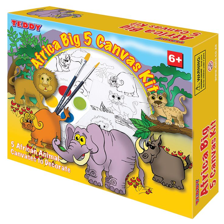 Africa Big 5 Painting Kit: Inspired by Africa's big 5 animals, transform these canvases into works of art.