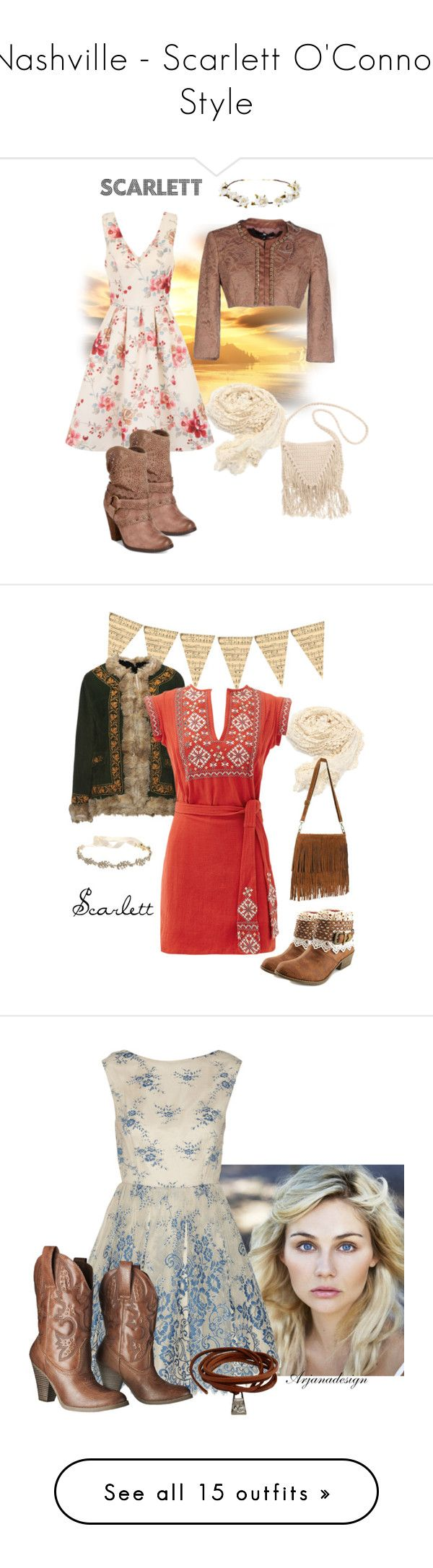"""""""Nashville - Scarlett O'Connor Style"""" by atak-kat on Polyvore featuring Elisabetta Franchi, Chi Chi, Naughty Monkey, Billabong, Cult Gaia, country, TigerBear Republik, Free People, Marchesa and vintage"""