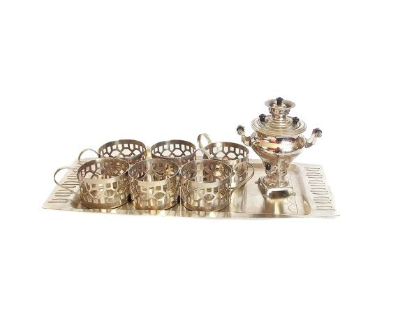 Vintage tea set Set of Six Glass Holders tray от GiftShopUkraine