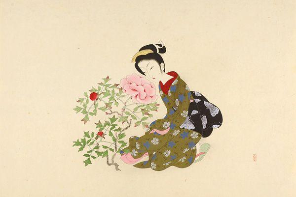 Fukamigusa(Peony) by Komura Settai / 深見草 小村雪岱