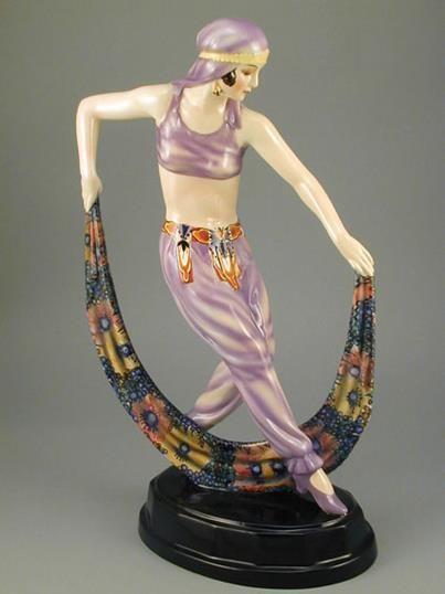 Art Deco Goldscheider Lorenzl Figurine with Scarf.