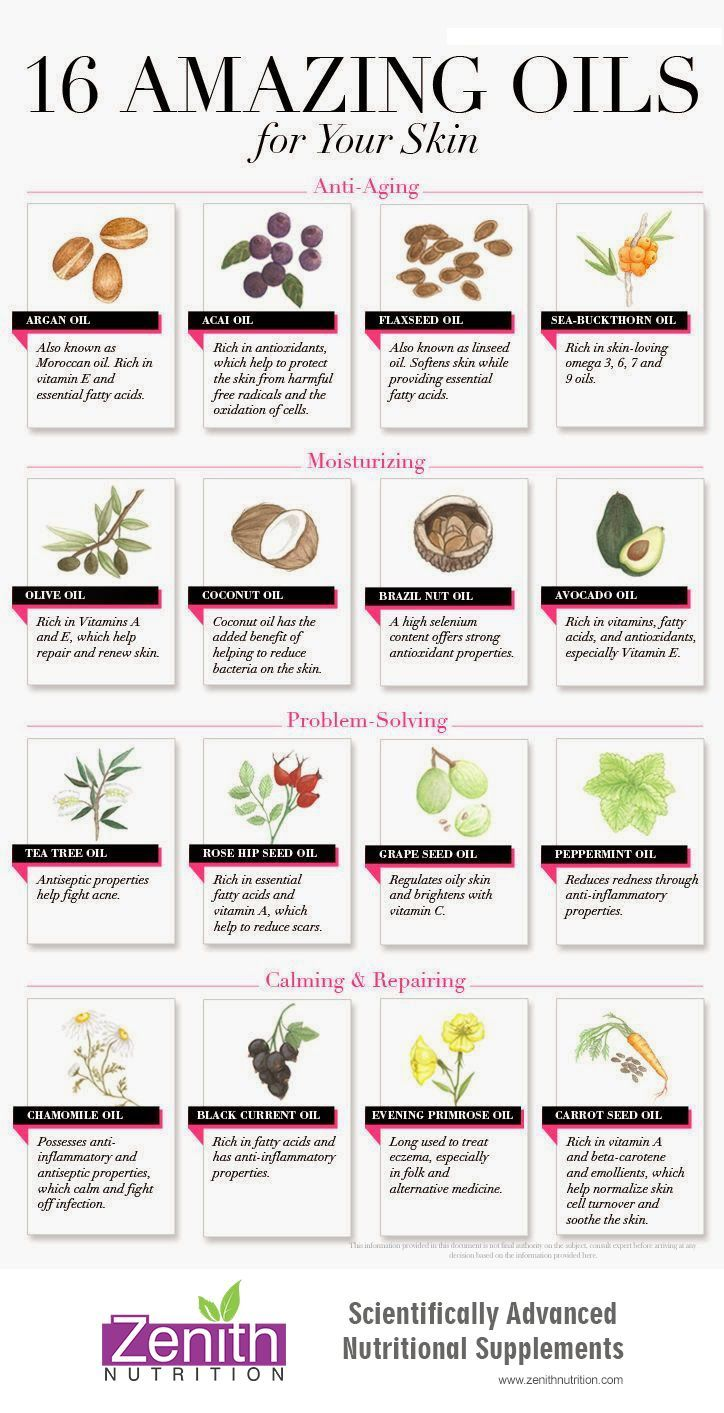 16 Amazing Oils For Your Skin. Anti aging - Argan oil, Acai oil, Flaxseed oir, Sea buckthorn oil. Moisturizing - Olive oil, Coconut oil, Brazil nut oil, Avocado oil. Problem solving - Tea tree oil, Rose hip seed oil, grape seed oil, Peppermint oil.  Calming & repairing - Chamomile oil, Black current oil, Evening primrose oil, carrot seed oil. Best supplements from Zenith Nutrition. Health Supplements. Nutritional Supplements. Health Infographics
