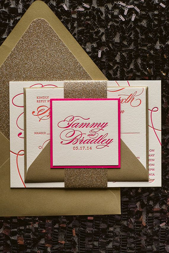 Hot Pink & Gold Glitter Calligraphy Letterpress by JustInviteMe