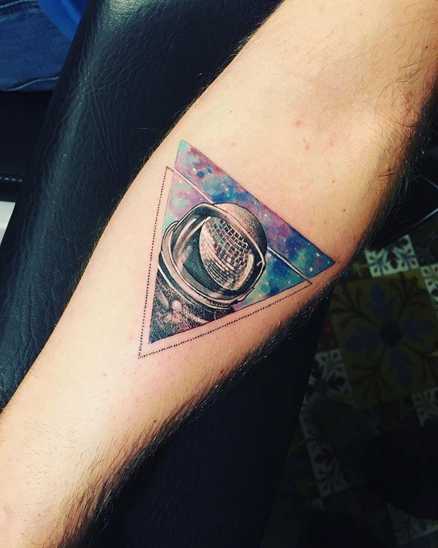 Space astronaut galaxy stars disco tattoo awesome triangle ...