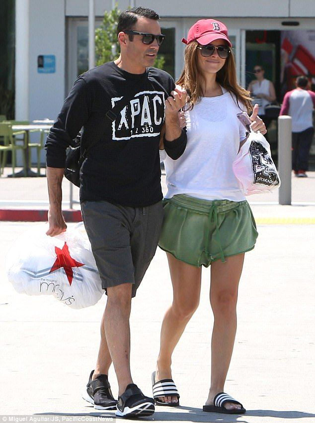 Walking therapy: Maria Menounous kept up her walking therapy with fiance Keven Undergaro at a mall in Los Angeles