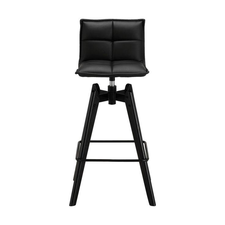 chaise de bar pivotante en simili noir  h66cm  alinéa